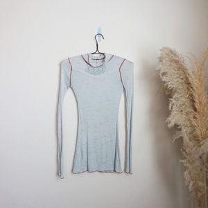 Free People lightweight baby blue turtleneck top